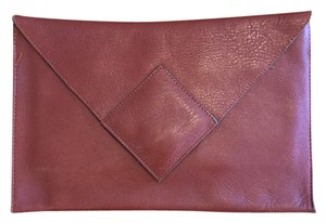 David Mehler for Dame Vintage Leather Envelope Saddle Brown Clutch