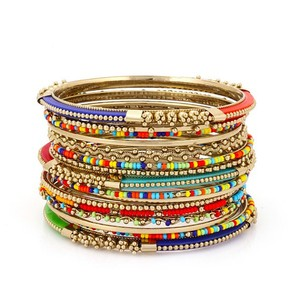Novica Multi Color Indian Bangle Set