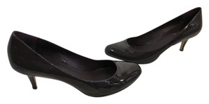 Cole Haan Stack Wood Heels Purple patent all leather padded insoles, NikeAir soles Pumps