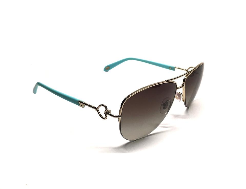7fbe23f45dab Tiffany   Co. Pale Gold - Blue Tf 3046 6021 New Aviator Sides Free 3 Day  Shipping Sunglasses