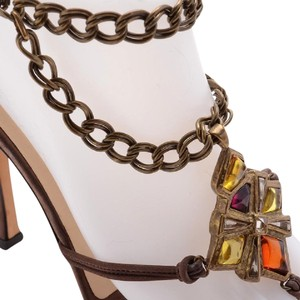 Jimmy Choo Chain Jewels Suede Leather Brass brown Sandals
