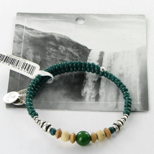 Alex and Ani Canyon Wrap Forest Green EWB Expandable Bracelet Russian Silver