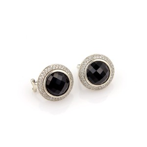 David Yurman 14044 - Pave Diamonds & Onyx Circular Post Clip Sterling Earrings