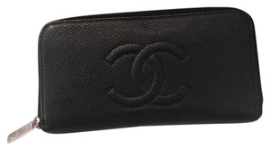 Chanel Classic Caviar CC Zippered Wallet