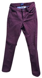 NYDJ Stretchy Colored Wine Color Straight Leg Jeans-Dark Rinse