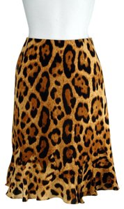 Escada Silk Leopard Print Skirt Leopard Tan