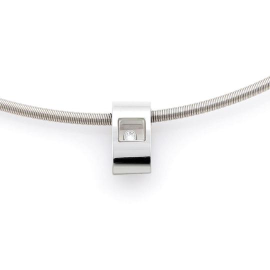 Chopard Happy Diamond 18k White Gold Slide Pendant Cable Necklace