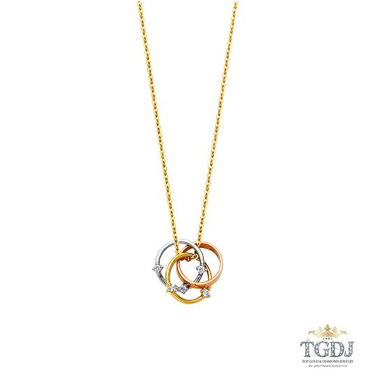 Top Gold & Diamond Jewelry 14K Tri Color Rings CZ Necklace - Top Gold & Diamond Jewelry