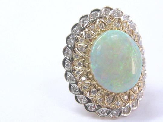 Other Fine BIG Opal Diamond Solitaire With Accent Yellow Gold Jewelry Ring 1