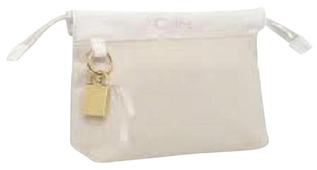 Item - Beige with White Trim Clutch Parfum Makeup Pouch Sac Case Toiletry Cosmetic Bag