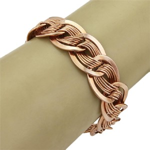 Modern Vintage Retro 14k Rose Gold Fancy Wire Wave Link Bracelet