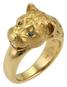 Modern Vintage #20333 White & Enhanced Blue Diamond Panther Head 18k Gold Ring