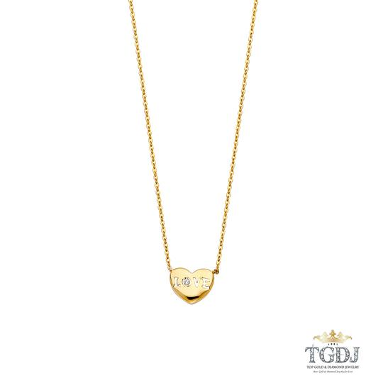 Top Gold & Diamond Jewelry 14K Yellow Gold CZ Love Necklace - Top Gold & Diamond Jewelry