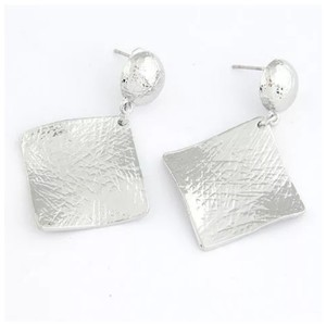 Other Silver Square Textured Earrings ED2
