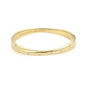 Tiffany & Co. Etoile Diamonds 18k Yellow Gold & Platinum Crossover Bangle Bracelet