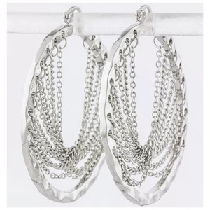 Other Silver Lightweight Chain Hoop Earrings ED2