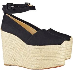 Christian Louboutin Dehia 160mm Sandals Espadrilles New black Wedges