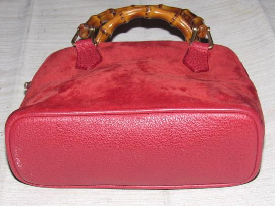 Gucci Removable Strap Bamboo Handles Two-way Style Mint Vintage Great Pop Of Color Satchel in true red suede body & leather accents