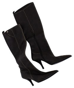 Hermès Stitch Leather Pointed Leather black Boots