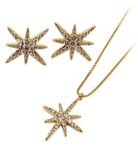 Ocean Fashion Fashion polaris small crystal necklace earrings gold set