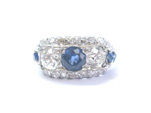 Other 18Kt Vintage Old European Diamond Gem Sapphire 3-Stone Jewelry Ring 1.