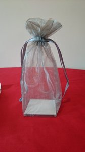 140 Silver Organza Box Bottom Favor Bags