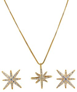 Ocean Fashion Fashion polaris small crystal Sterling silver chain necklace gold set