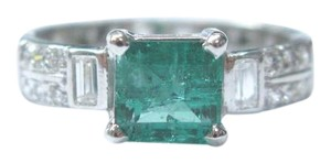 Other Platinum Gem Green Colombian Emerald Diamond Jewelry Ring 2.20Ct E-F/V