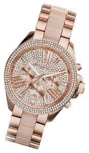 Michael Kors 100% NEW WOMENS MICHAEL KORS WREN ROSE GOLD TONE GLITZ WATCH MK6096