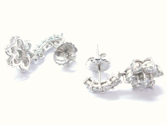 Other Fine Round Brilliant Diamond Flower Cluster White Gold Earrings 4.05CT