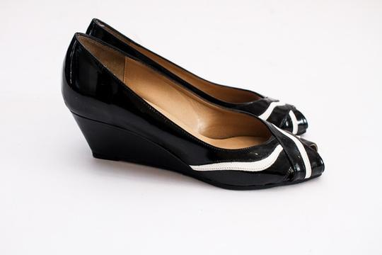 Sesto Meucci Patent Leather Peep Toe Leather black and white Wedges