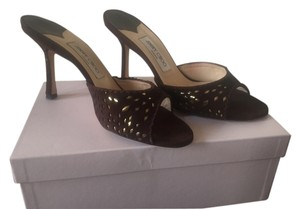 Jimmy Choo Perforated Suede Coffee (brown) with gold Mules