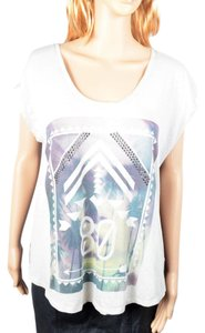 Express Asymmetrical Sheer Keyhole Studded Graphic Top White & Black