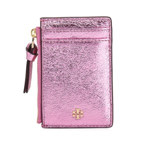 Tory Burch Tory Burch Crinkled Metallic Zip card case
