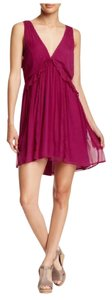 Free People Sleeveless Double V-neck Ruffle Mini Drawstring Dress