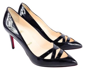 Christian Louboutin Patent Calfskin Leather Pointy Toe Manue Black Pumps