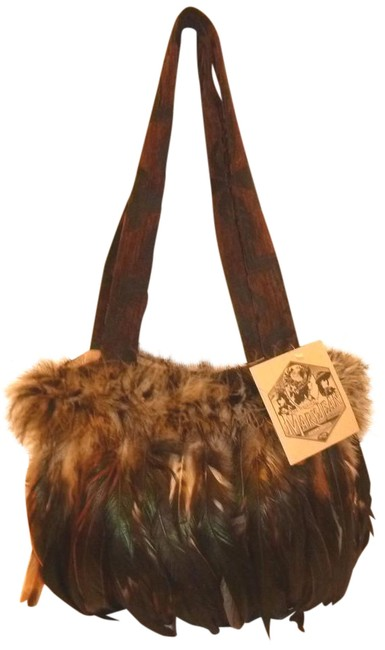 Item - Handbag Brown and Multiple Tapestry Feathers Shoulder Bag