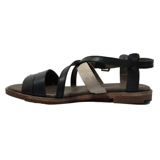 Gee WaWa Leather Festival Blk Wht Sandals