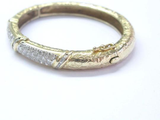 Other Fine Round & Baguette Multi Shape Milgrain Yellow Gold Bangle 14KT 2.2