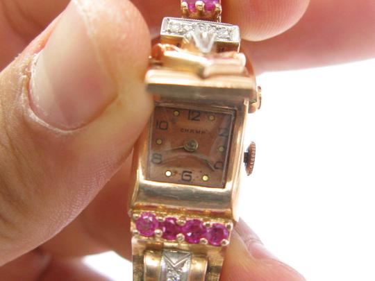 Other Vintage Champ Rose Gold Ruby Diamond Watch 6.5