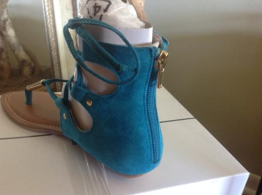 Dolce Vita Gladiator Taupe Zipper Teal Suede Sandals