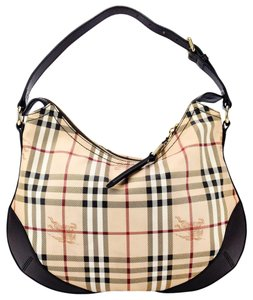 Burberry Horseferry Haymarket Check Canvas Leather Hobo Bag
