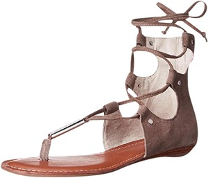 Dolce Vita Gladiator Zipper Taupe Suede Sandals