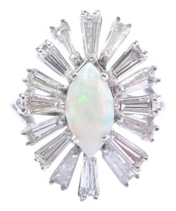 Other Fine Opal Baguette Diamond White Gold Mushroom Jewelry Ring 2.50Ct E-F