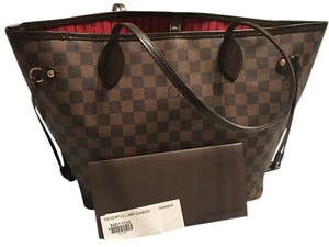 Louis Vuitton Canvas Canvas Leather Tote in Damiere Ebene/Red Interior