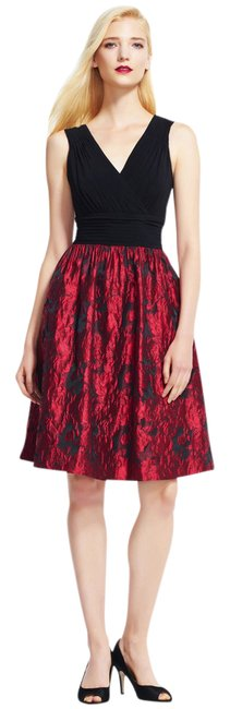 Preload https://img-static.tradesy.com/item/21025850/adrianna-papell-red-black-fit-and-with-metallic-rose-print-skirt-mid-length-cocktail-dress-size-2-xs-0-1-650-650.jpg
