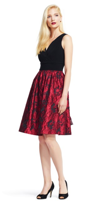 Preload https://img-static.tradesy.com/item/21025858/adrianna-papell-red-black-fit-and-with-metallic-rose-print-skirt-mid-length-cocktail-dress-size-4-s-0-0-650-650.jpg