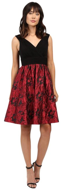 Preload https://img-static.tradesy.com/item/21025867/adrianna-papell-red-black-fit-and-with-metallic-rose-print-skirt-mid-length-cocktail-dress-size-8-m-0-1-650-650.jpg