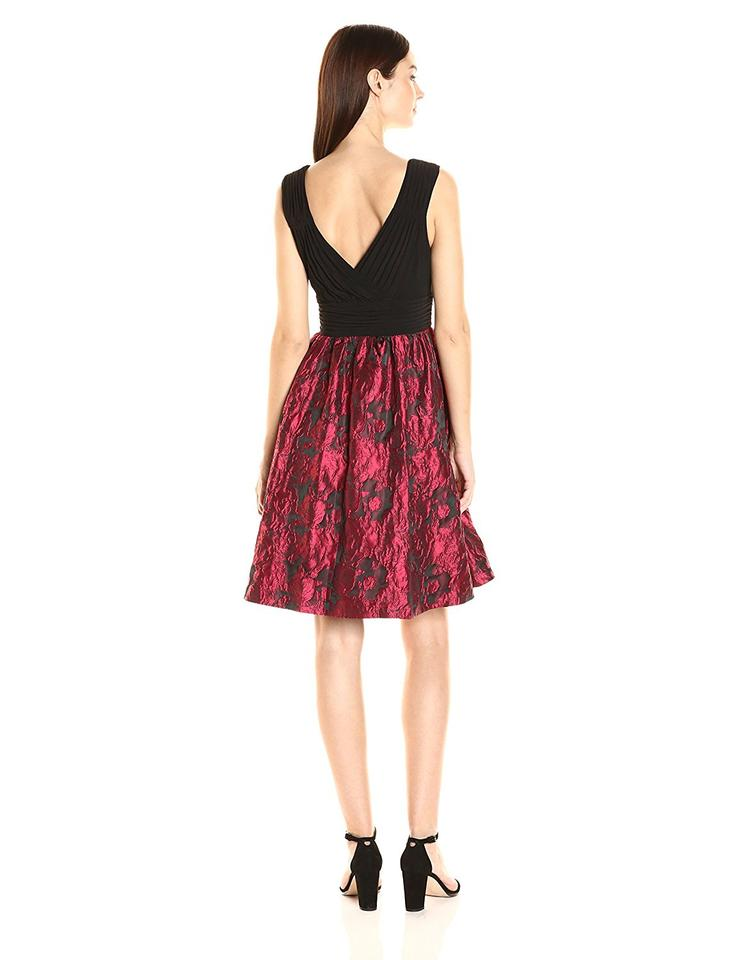 ba75baaa44 Adrianna Papell Red Black Fit and with Metallic Rose Print Skirt Cocktail  Dress