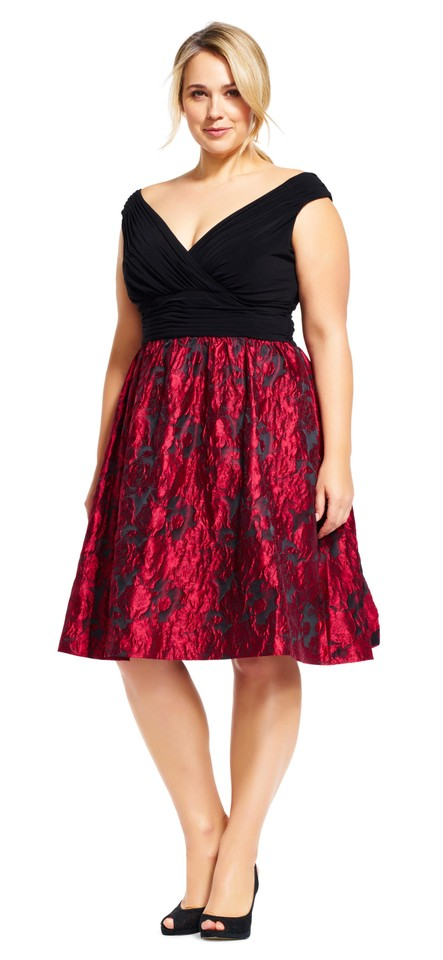 ce7ba210b6 Adrianna Papell Red Black Fit and with Metallic Rose Print Skirt Mid ...